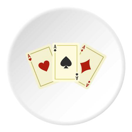 ace of hearts: Aces playing cards icon in flat circle isolated vector illustration for web