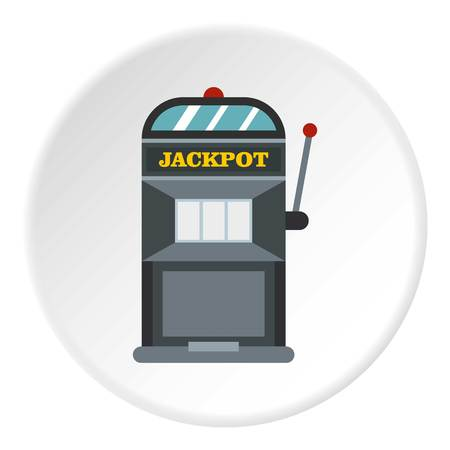 Slot machine icon in flat circle isolated vector illustration for web Иллюстрация