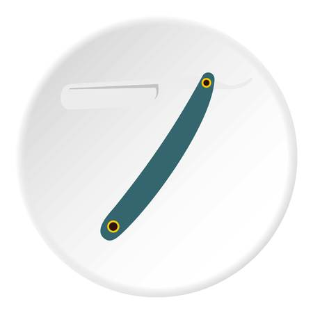 Straight razor icon in flat circle isolated vector illustration for web