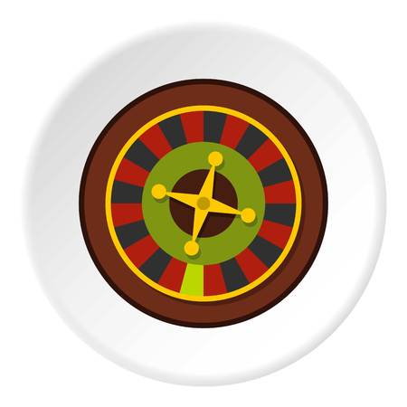 Casino gambling roulette icon in flat circle isolated vector illustration for web