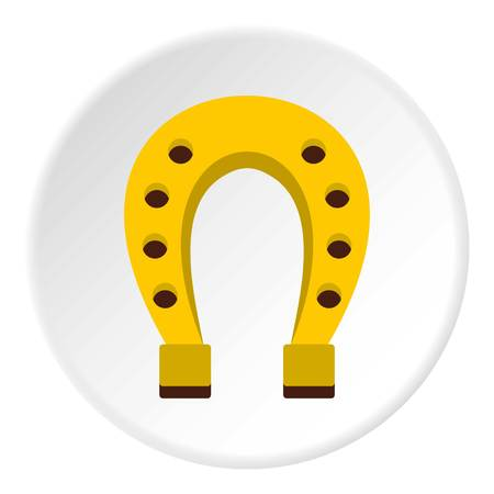 iron horse: Golden horseshoe icon in flat circle isolated vector illustration for web