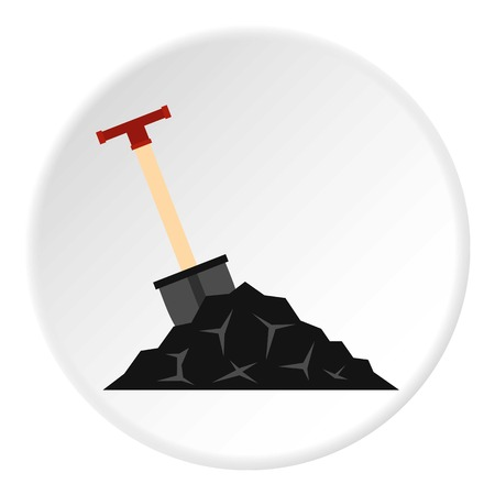 Shovel in coal icon in flat circle isolated vector illustration for web.
