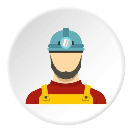 heavy construction: Male miner icon in flat circle isolated vector illustration for web