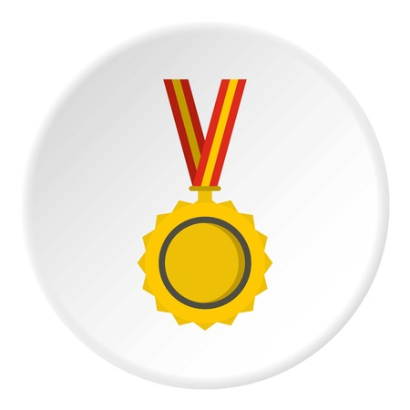 approval icon: Medal icon in flat circle isolated vector illustration for web