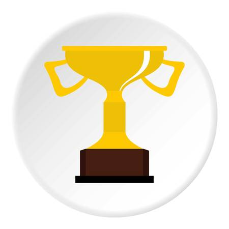 quality guarantee: Cup for victory icon in flat circle isolated vector illustration for web Illustration
