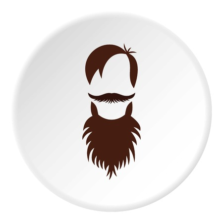 barber: Men hairstyle with beard and mustache icon in flat circle isolated vector illustration for web