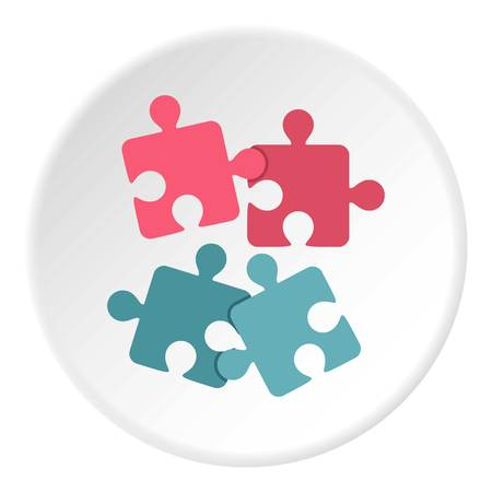 Jigsaw puzzles icon in flat circle isolated vector illustration for web