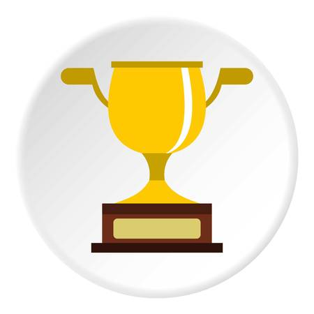 Gold cup icon in flat circle isolated vector illustration for web