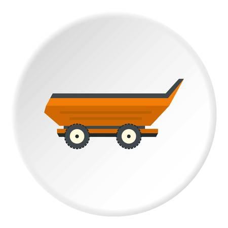 cushy: Orange car trailer icon in flat circle isolated vector illustration for web