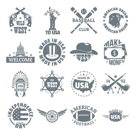 미국 로고 빈티지 아이콘을 설정합니다. 16 미국 로고의 간단한 그림 웹에 대 한 빈티지 벡터 아이콘