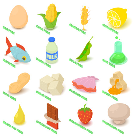 Allergy free icons set food. Isometric illustration of 16 allergy free vector icons for web