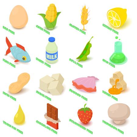 Allergy free icons set food. Isometric illustration of 16 allergy free vector icons for web Illustration