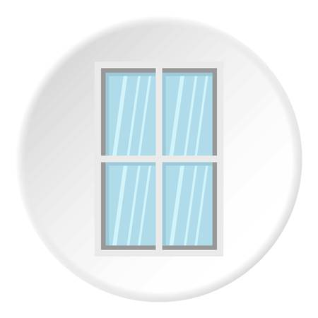 architectural styles: White rectangle window icon in flat circle isolated vector illustration for web