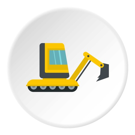 Yellow mini excavator icon in flat circle isolated vector illustration for web Illustration