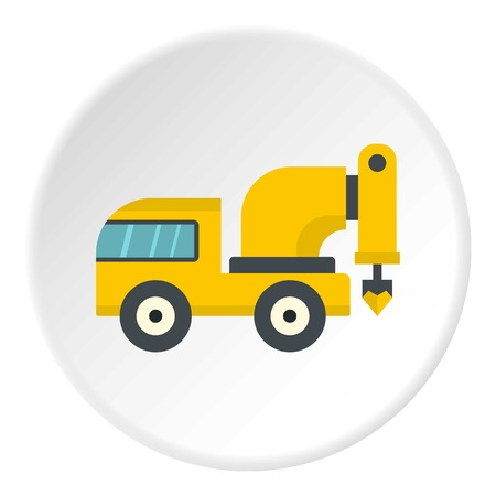Yellow drilling machine icon in flat circle isolated vector illustration for web