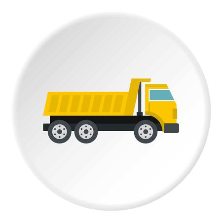 Dumper truck icon in flat circle isolated vector illustration for web