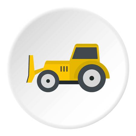 Skid steer loader bulldozer icon in flat circle isolated vector illustration for web Illustration