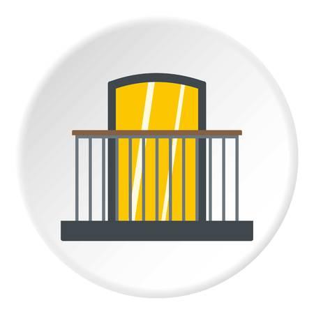 Balcón con icono de barandilla de hierro en círculo plano aislado ilustración vectorial para web