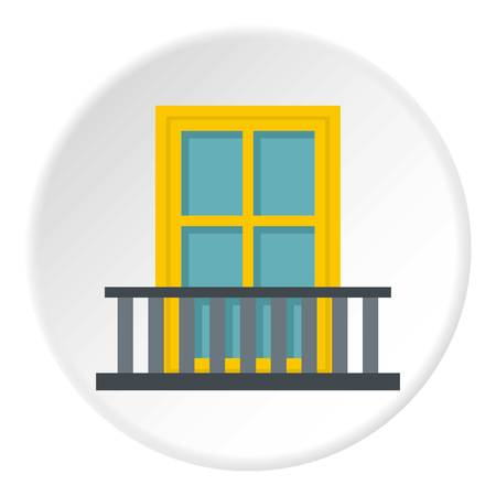 Balcony with a yellow window icon in flat circle isolated vector illustration for web