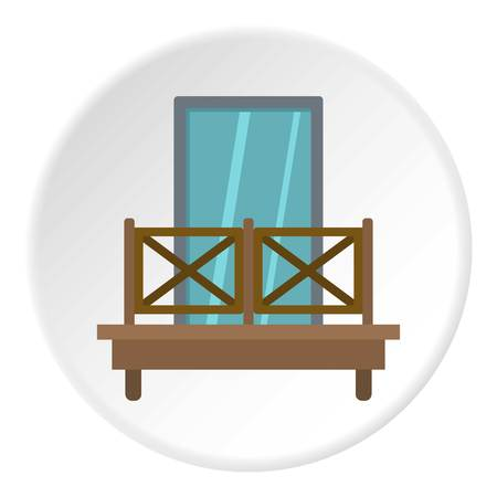 Balcony with wooden fence icon in flat circle isolated vector illustration for web