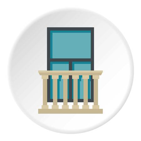 architectural styles: Classic balcony balustrade with window icon circle Illustration