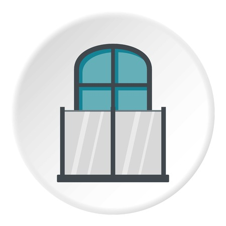 exterior architectural details: Balcony with a glass fence icon circle Illustration