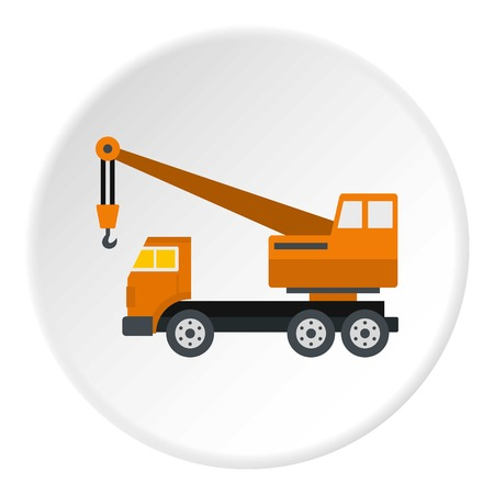 Orange truck crane icon in flat circle isolated vector illustration for web