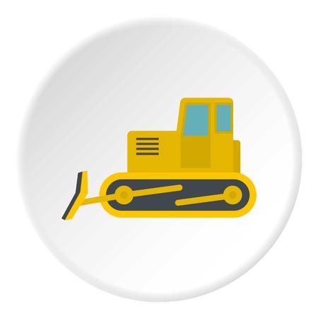 Yellow bulldozer con. Flat illustration of yellow bulldozer vector icon in flat circle isolated vector illustration for web