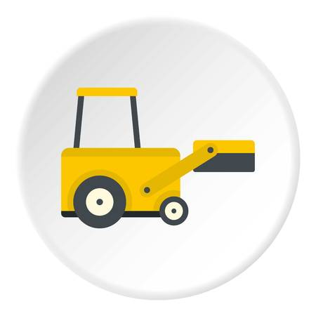 Yellow truck to lift cargo icon in flat circle isolated vector illustration for web