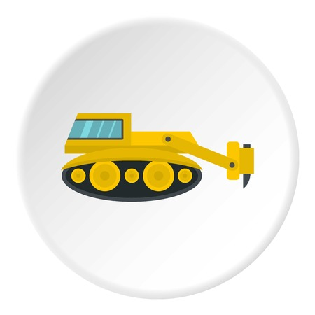 Excavator with hydraulic hammer icon in flat circle isolated vector illustration for web Illustration