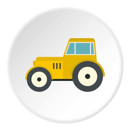 Yellow tractor icon in flat circle isolated vector illustration for web Illustration