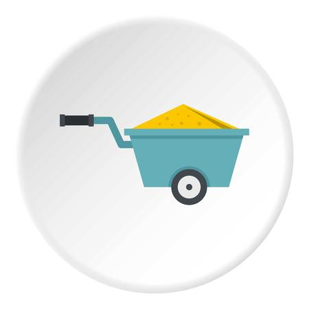 Wheelbarrow full of sand icon in flat circle isolated vector illustration for web