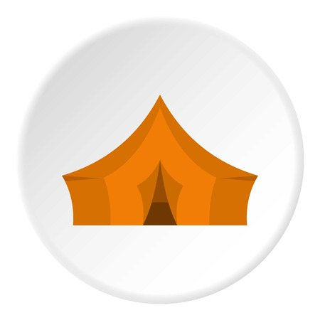 nylon: Orange tent for forest camping icon circle
