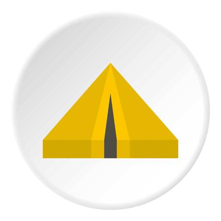 Camping tent icon in flat circle isolated vector illustration for web Illustration