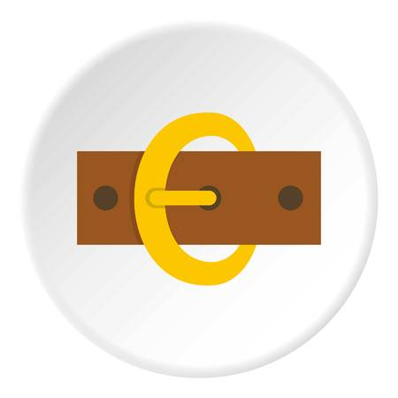 rivets: Gold oval buckle icon in flat circle isolated vector illustration for web Illustration