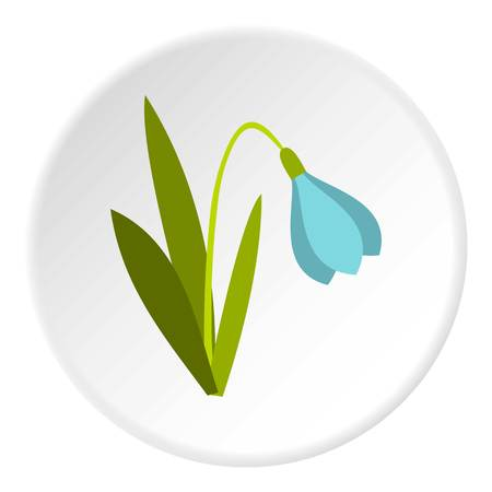 budding: Snowdrop icon in flat circle isolated vector illustration for web Illustration