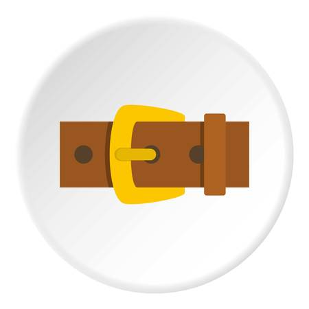 rivets: Gold buckle icon in flat circle isolated vector illustration for web
