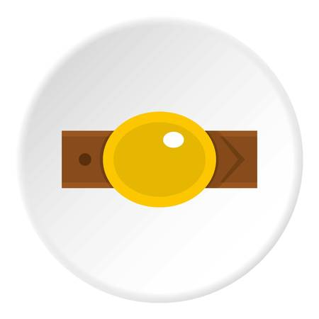 waistband: Belt with gold oval shaped buckle icon in flat circle isolated vector illustration for web