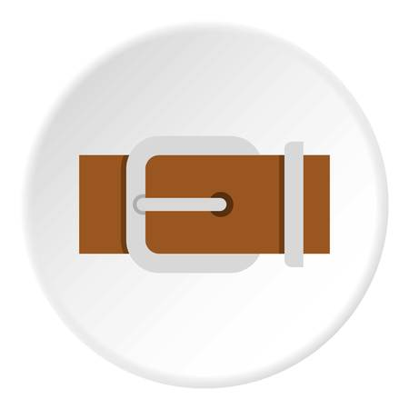 waistband: Brown elegant leather belt icon in flat circle isolated vector illustration for web Illustration