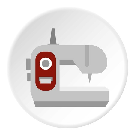 Sewing machine icon in flat circle isolated vector illustration for web