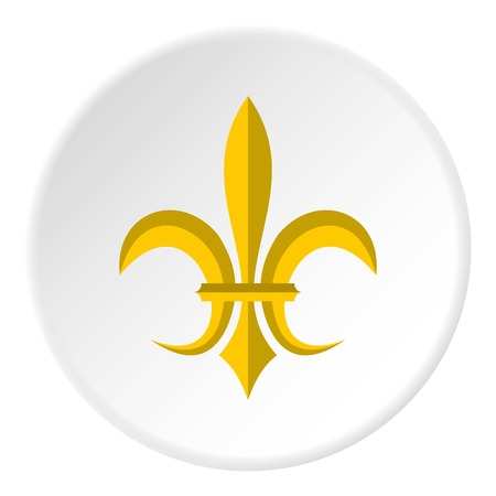 Gold royal lily icon in flat circle isolated vector illustration for web
