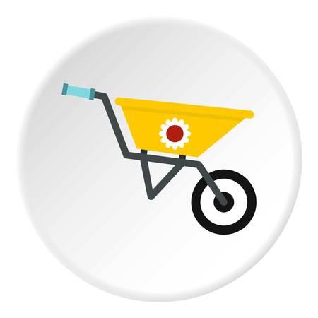 Garden wheelbarrow icon in flat circle isolated vector illustration for web Illustration