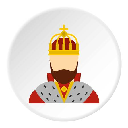 King icon in flat circle isolated vector illustration for web Illustration