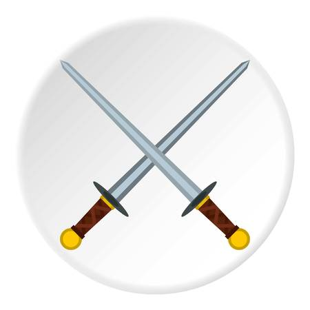 longsword: Medieval swords icon in flat circle isolated vector illustration for web