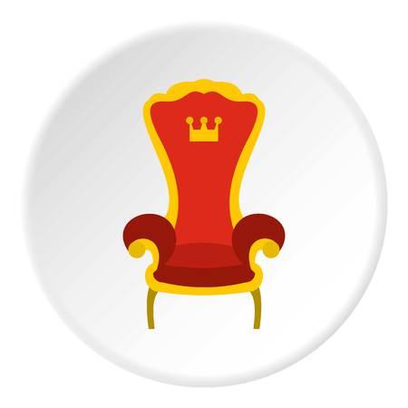 Rode koninklijke troon icoon in vlakke cirkel geïsoleerde vector illustratie voor web Stock Illustratie