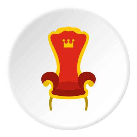 Red royal throne icon in flat circle isolated vector illustration for web Illustration