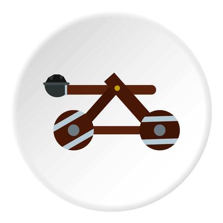 Medieval siege catapult icon in flat circle isolated vector illustration for web Çizim