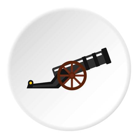 Ancient cannon icon in flat circle isolated vector illustration for web Illustration