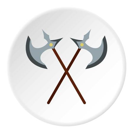 Medieval battle axe icon in flat circle isolated vector illustration for web