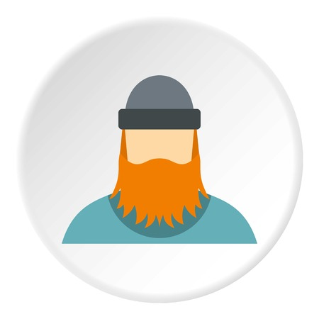 logging: Lumberjack icon in flat circle isolated vector illustration for web